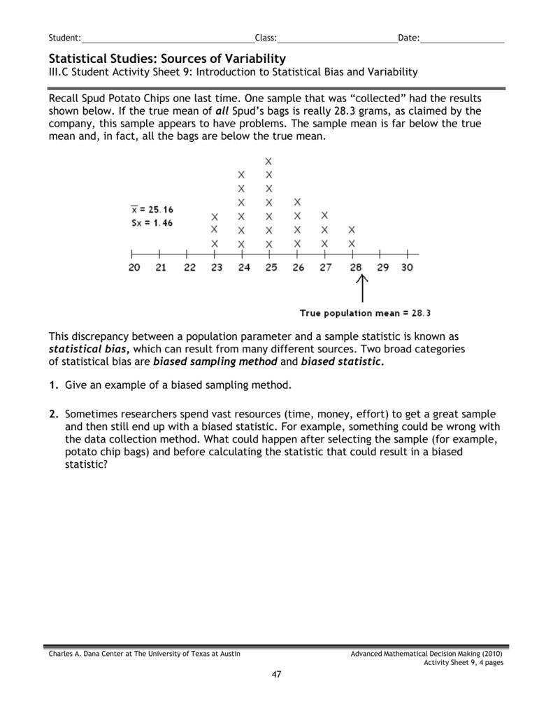advanced mathematical decision making 2010 activity sheet 6 answer key. sas  iii c 9 statistical bias and variability .
