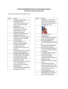 Practice Identifying Primary and Secondary Sources (Courtesy of