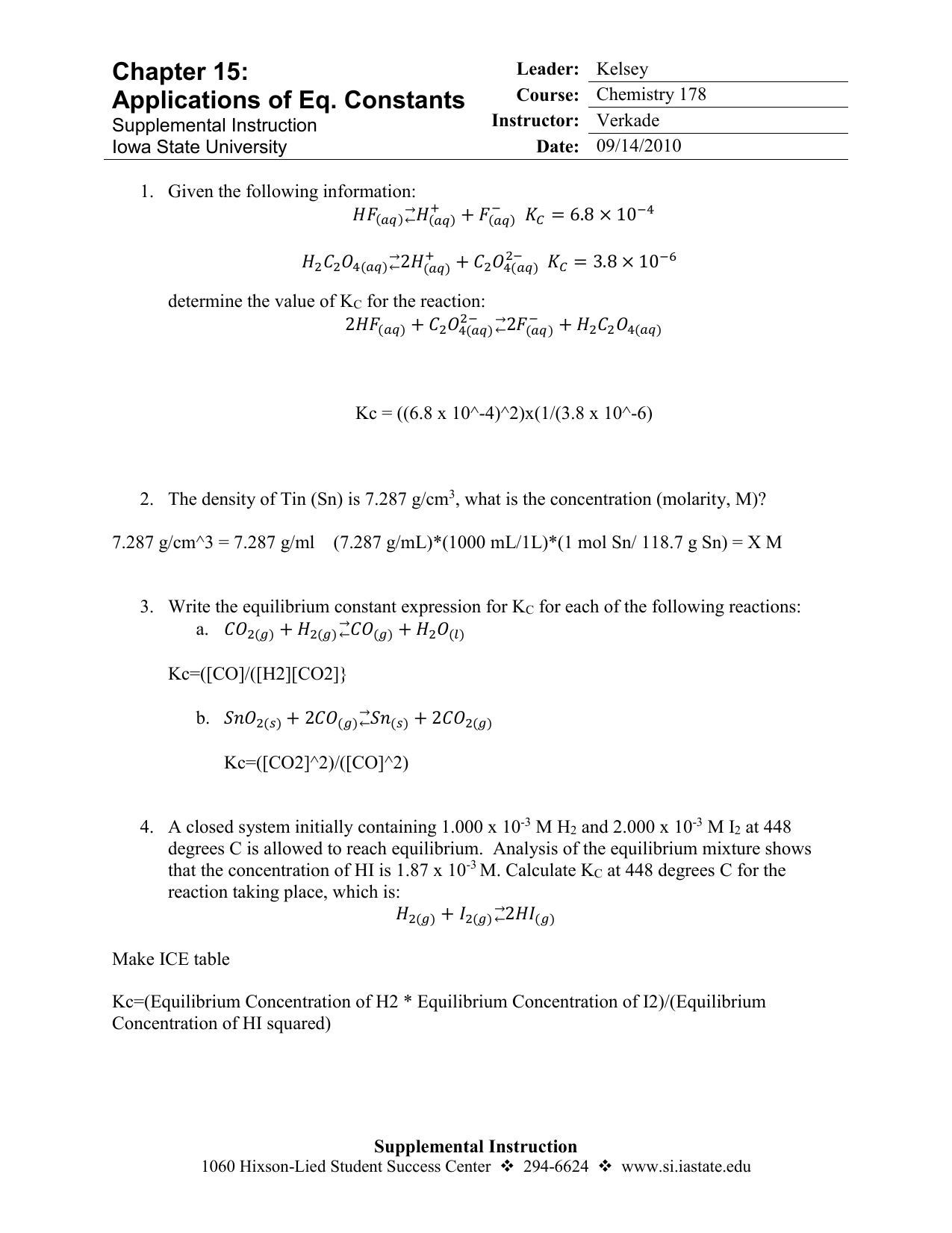 Chapter 15: Applications of Eq  Constants