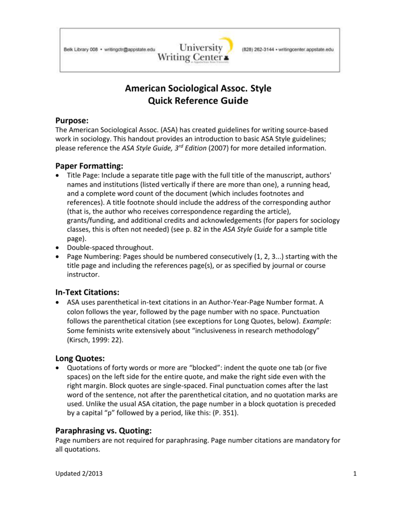 american sociological assoc style quick reference guide purpose
