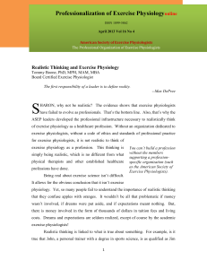 April 2013 Realistic Thinking - American Society of Exercise