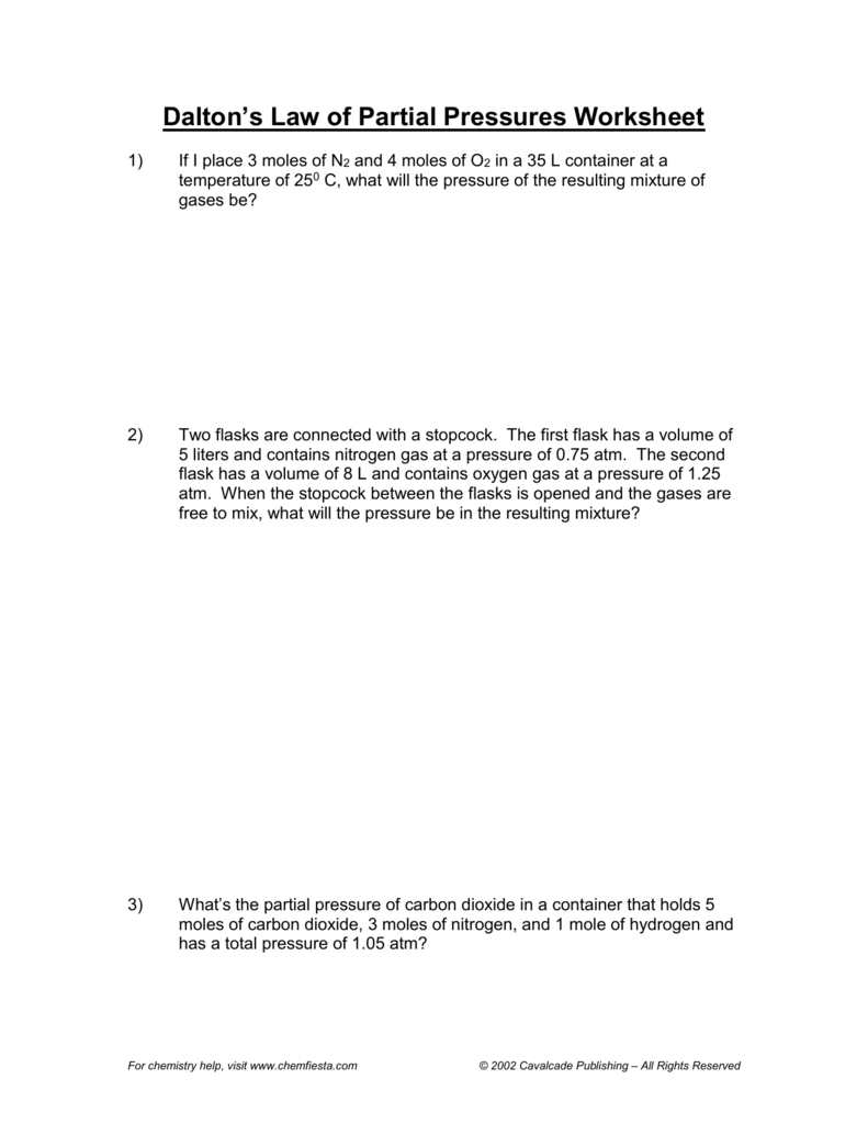 worksheet Mixed Gas Laws Worksheet daltons law worksheet