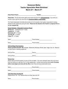 Homeroom Mother Teacher Appreciation Worksheet