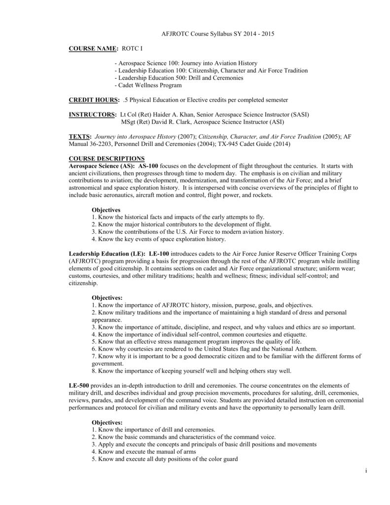AFJROTC LA-081 Cadet Guide - Galena Park Independent School