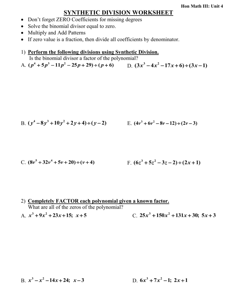 Worksheets Synthetic Division Worksheet synthetic division worksheetdon