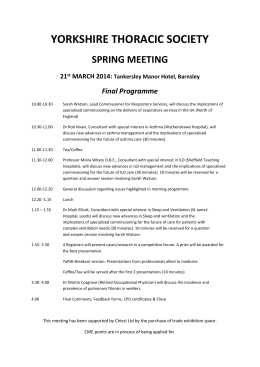 Programme - Yorkshire Thoracic Society
