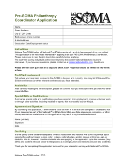 Pre-SOMA Philanthropy Coordinator Application