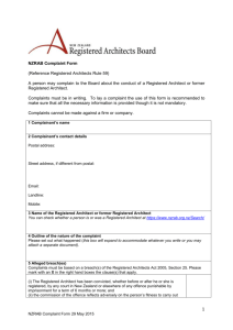 Complaint Form - Registered Architects Board