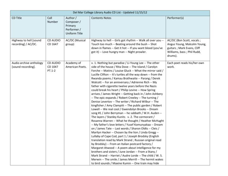 Del Mar College Library Audio Cd List