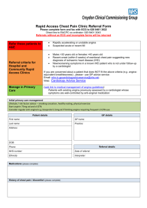 Rapid access chest pain clinic referral form BLANK