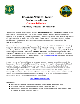 Coconino National Forest Southwestern Region Outreach Notice