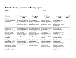 Rubric for Planning Commentary for Learning Segment