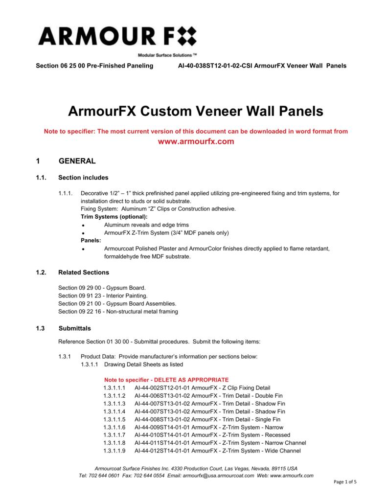 CSI AmourFX Veneer Panels