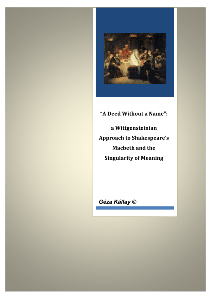 A Wittgensteinian Approach To Shakespeares Macbeth And