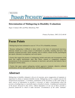 Ex. I Determination of Malingering in Disability Evaluations (2)