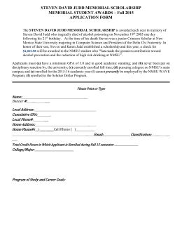 Steven David Judd Scholarship Application