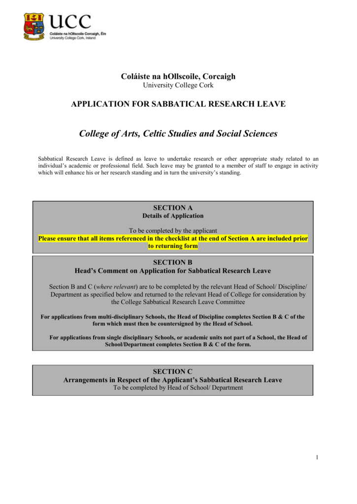 Research Sabbatical Leave Application Form