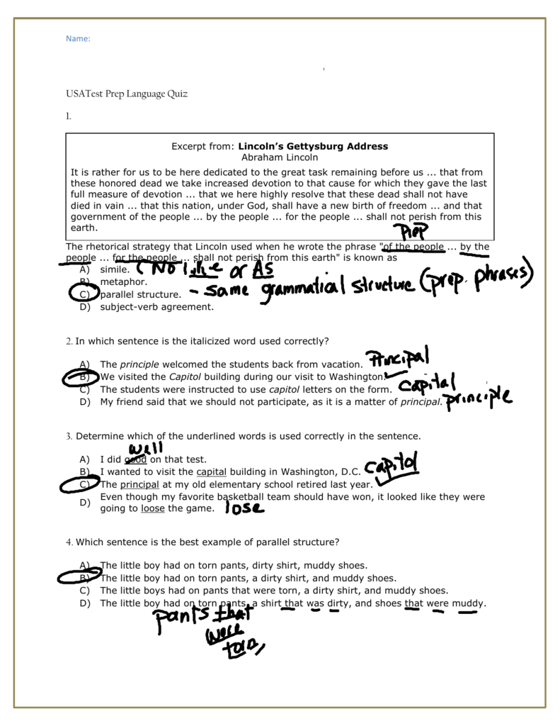 Usatest Prep Language Quiz Answer Key