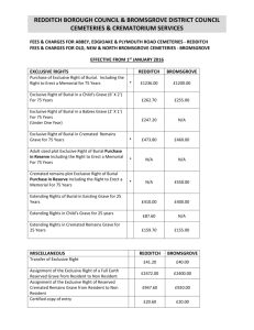 fees and charges for bereavement services.