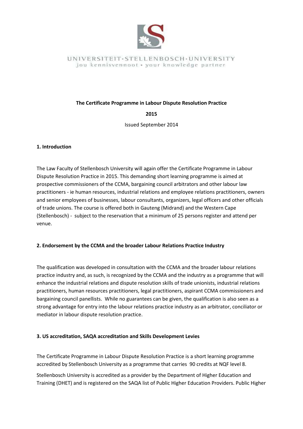 The Certificate Programme in Labour Dispute Resolution Practice