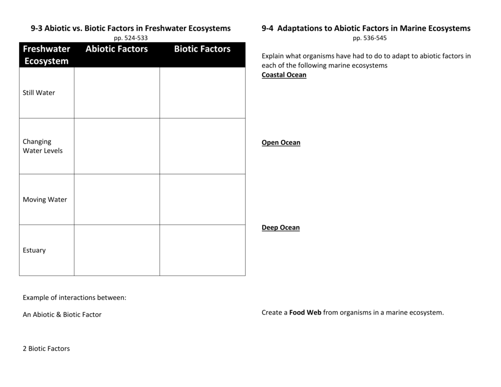 worksheet Biotic And Abiotic Factors Worksheet 9 3 abiotic vs biotic factors in freshwater ecosystems cms15 16