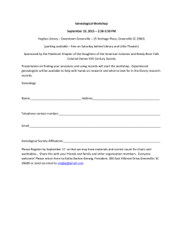 Genealogical Workshop September 19, 2015 – 2:30