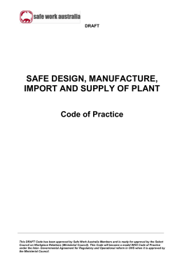 Safe Design, Manufacture, Import and Supply of Plant