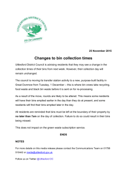 Changes to bin collection times