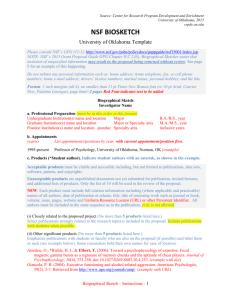 NSF Biosketch Checklist