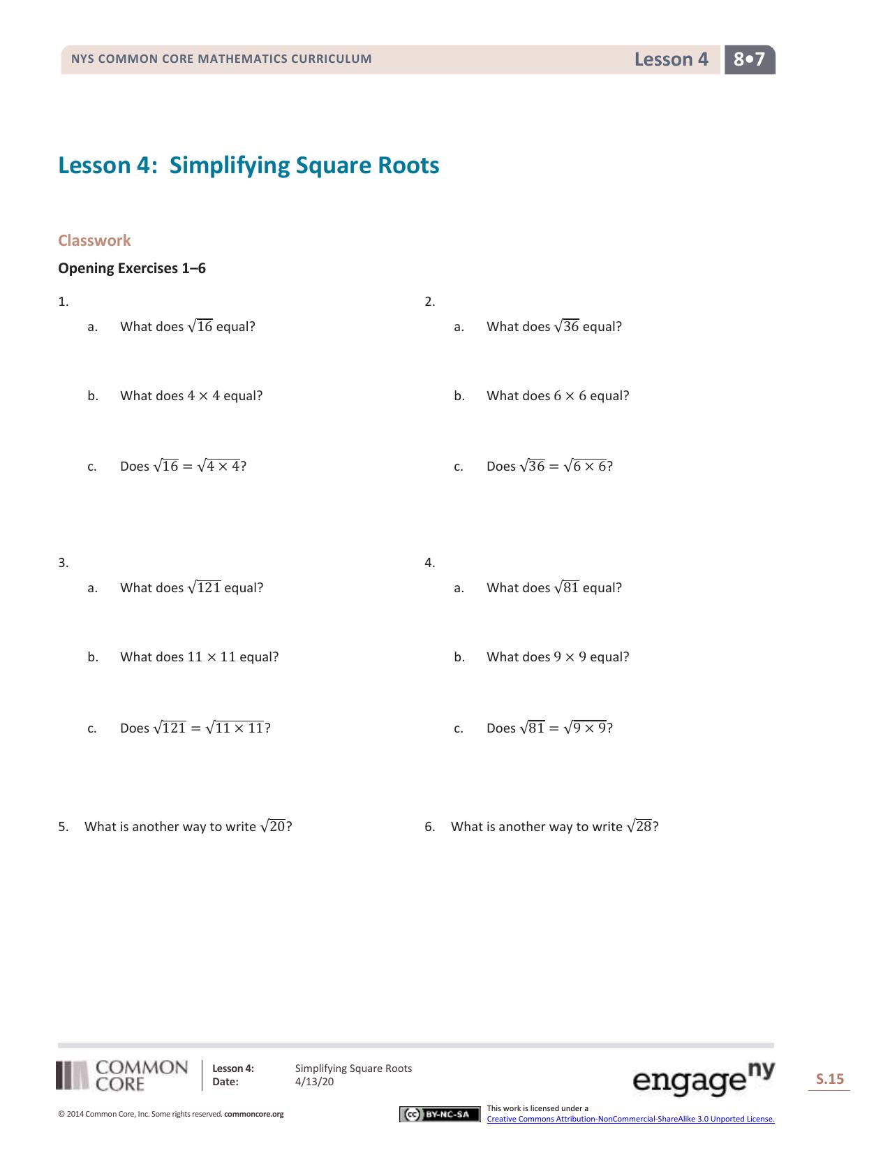 Grade 8 Mathematics Module 7, Topic A, Lesson 4