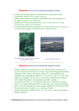 Similarities and Difference Between Aquatic & Terrestrial