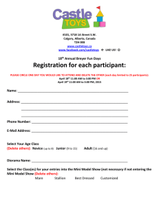 18 th Annual Breyer Fun Days Registration for each
