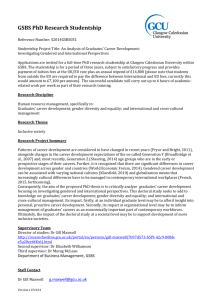 PhD Research Studentships - Glasgow Caledonian University