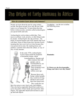 Early humans Worksheet - Mr. Knutson`s History