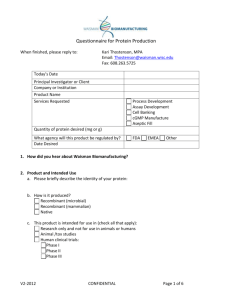 Questionnaire for Recombinant Protein Production Services