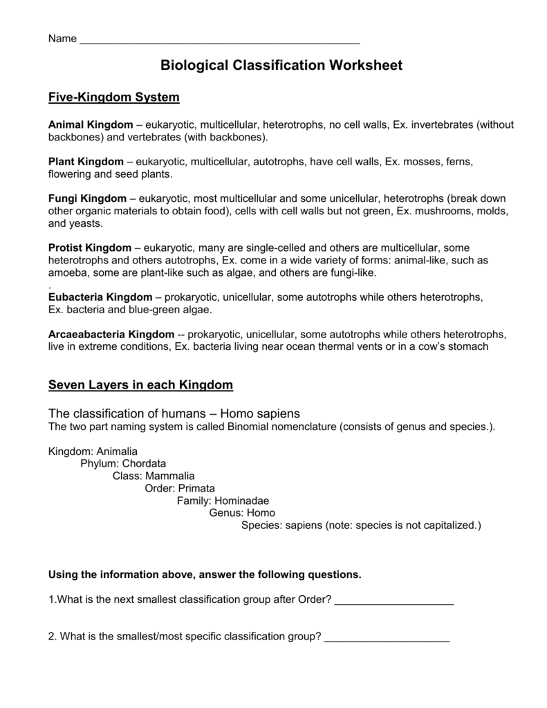 Biological Classification Worksheet Five – Taxonomy Classification Worksheet