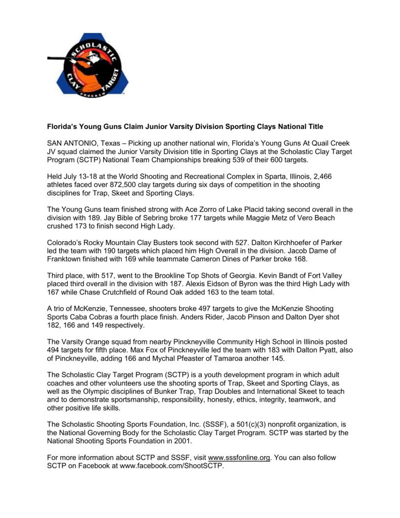 Florida`s Young Guns Claim Junior Varsity Division Sporting Clays