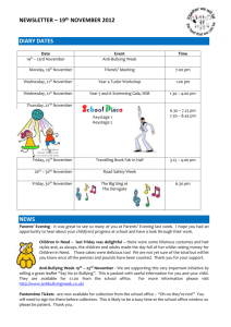 NEWSLETTER – 19 th NOVEMBER 2012 DIARY DATES