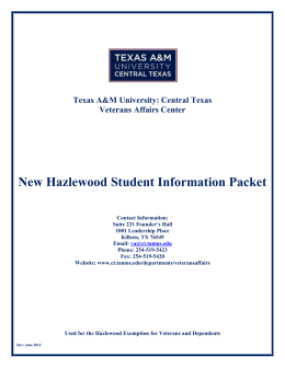 New Hazlewood Student Checklist - Texas A&M University