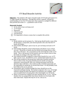 UV Bead Bracelet Activity Objective: The students will create a