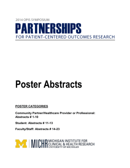 View the poster abstracts - MICHR
