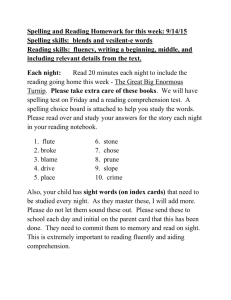 Spelling and Reading Homework for this week: 9/14/15