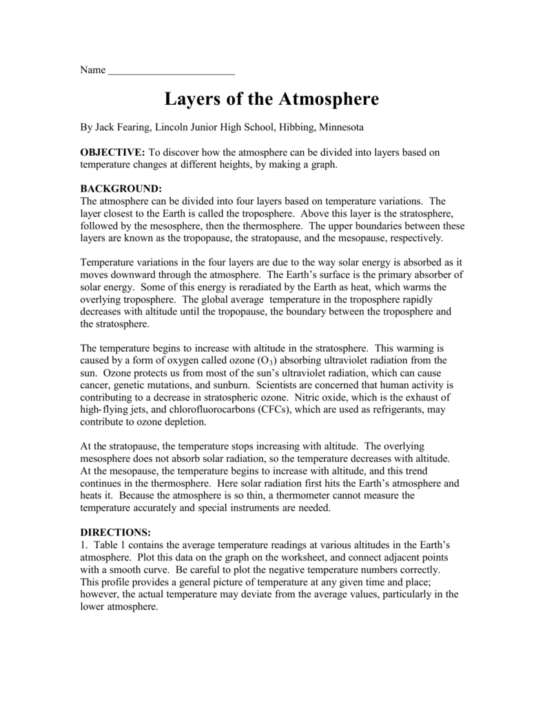 Worksheets Layers Of The Atmosphere Worksheet layers of the atmosphere pdf