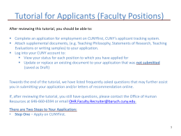 How to Apply for a Faculty Position - Baruch College