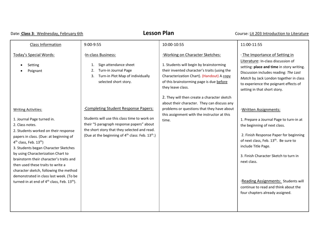 3rd Class Lit 203 Feb  6th Lesson Plan