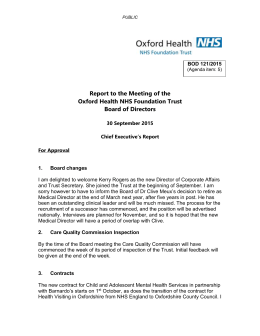 Chief Executive Report - Oxford Health NHS Foundation Trust