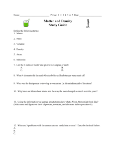 Matter and Density Study Guide