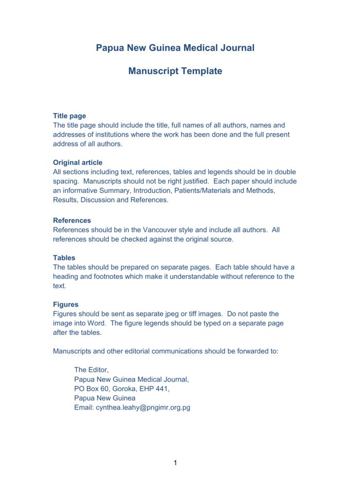 manuscript template papua new guinea institute of medical