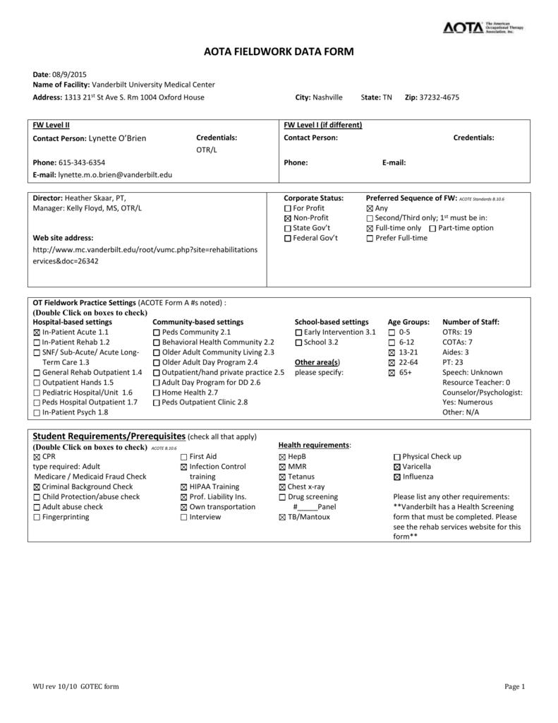 aota fieldwork data form - Vanderbilt University Medical Center