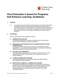 Vice-Chancellor`s Award for Programs that Enhance Learning